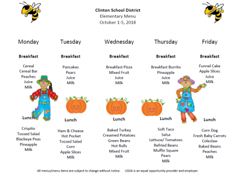 Elementary Lunch Menu Sept. 23rd- 28th