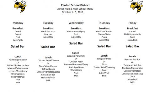 Jr. High Lunch Menu Sept. 24rd-28th