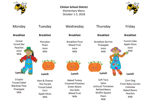 Elementary Lunch Menu Oct. 1st-5th
