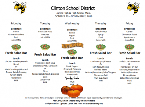 High School and Jr. High Lunch Menu Oct 29-Nov 2