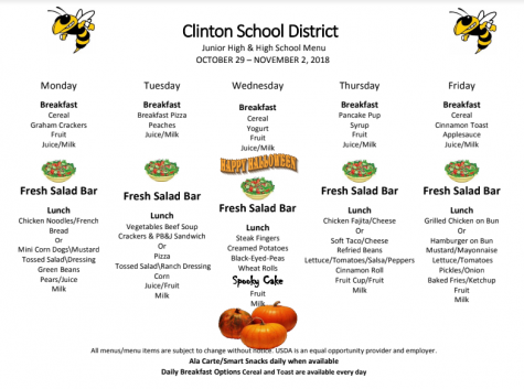High School Lunch Menu Oct. 29-Nov. 2