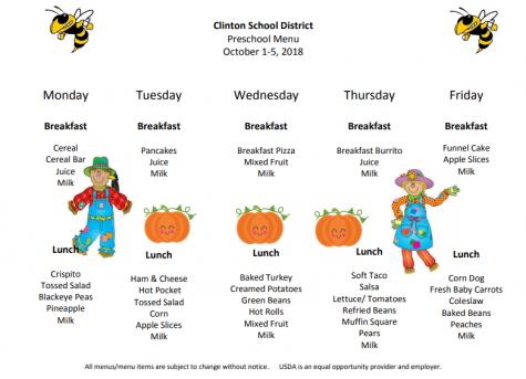Preschool Lunch Menu Oct.1st-5th