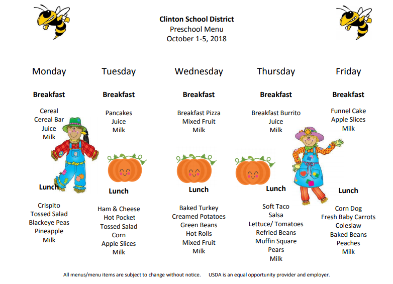 Preschool Lunch Menu Oct.1st-5th