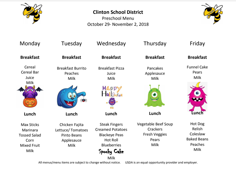 Preschool Lunch Menu Oct. 29- Nov. 2