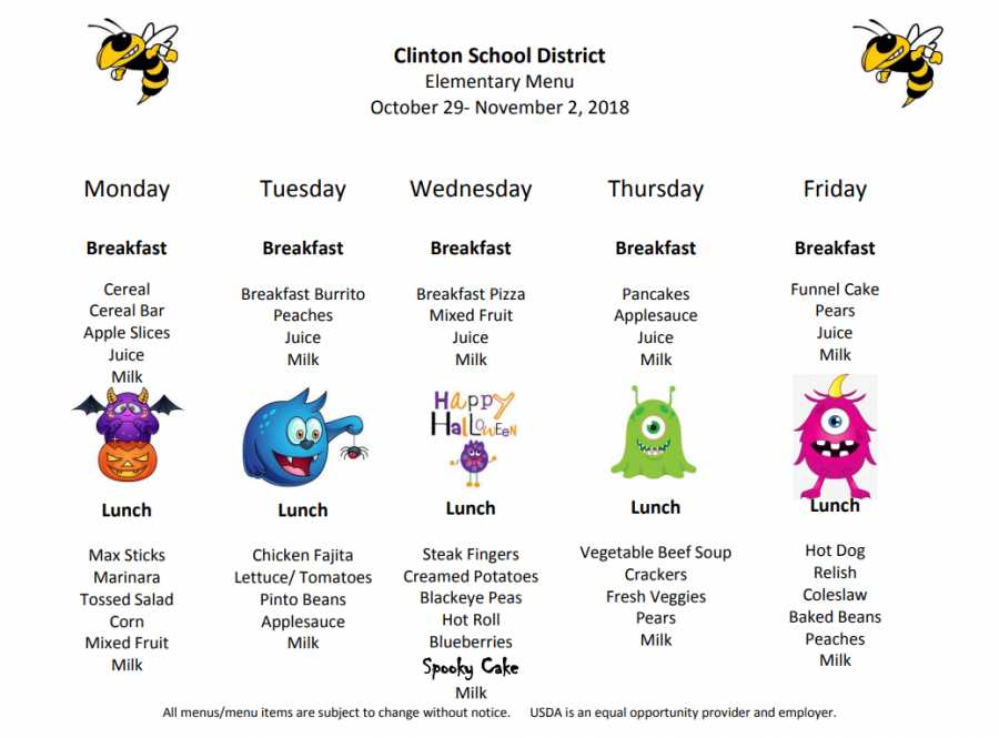 Preschool and Elementary Lunch Menus Oct. 29- Nov 2