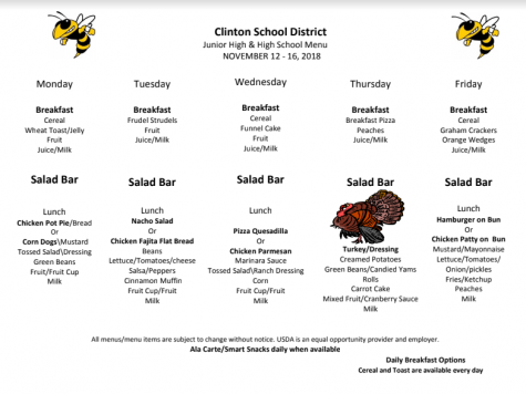 High School Lunch Menu Nov.12-16