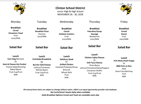 High School Lunch Menu Nov.26-30
