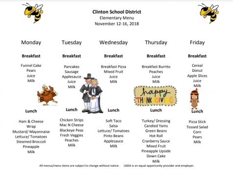 Elementary Lunch Menu Nov. 12-16