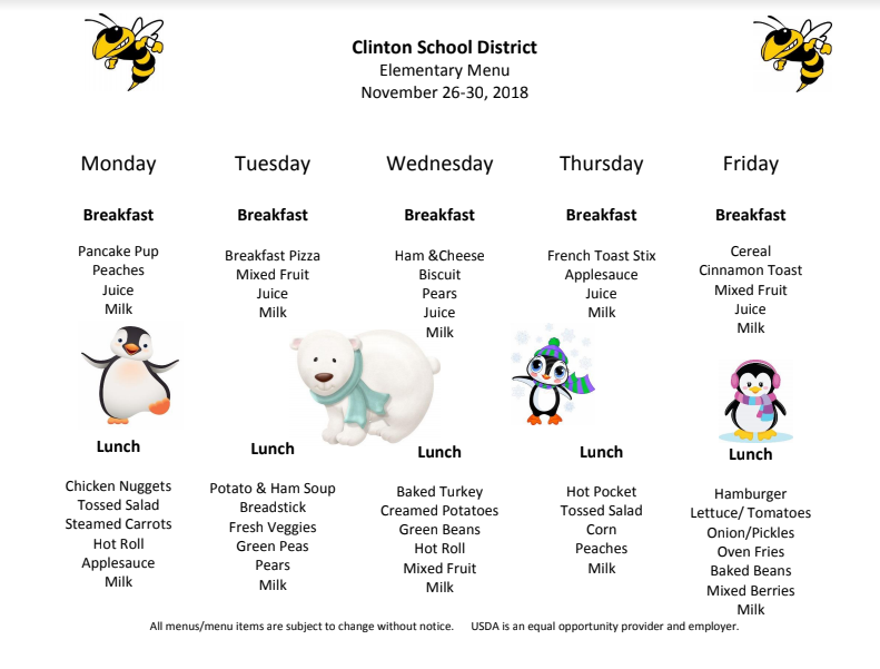 Preschool Lunch Menu Dec. 3-7