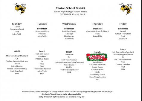 Jr. High Lunch Menu Dec. 10-14