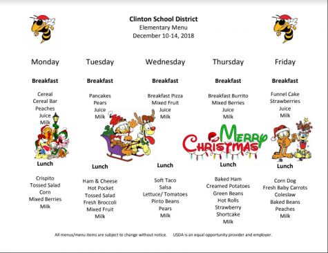 Preschool Lunch Menu Dec. 10-14