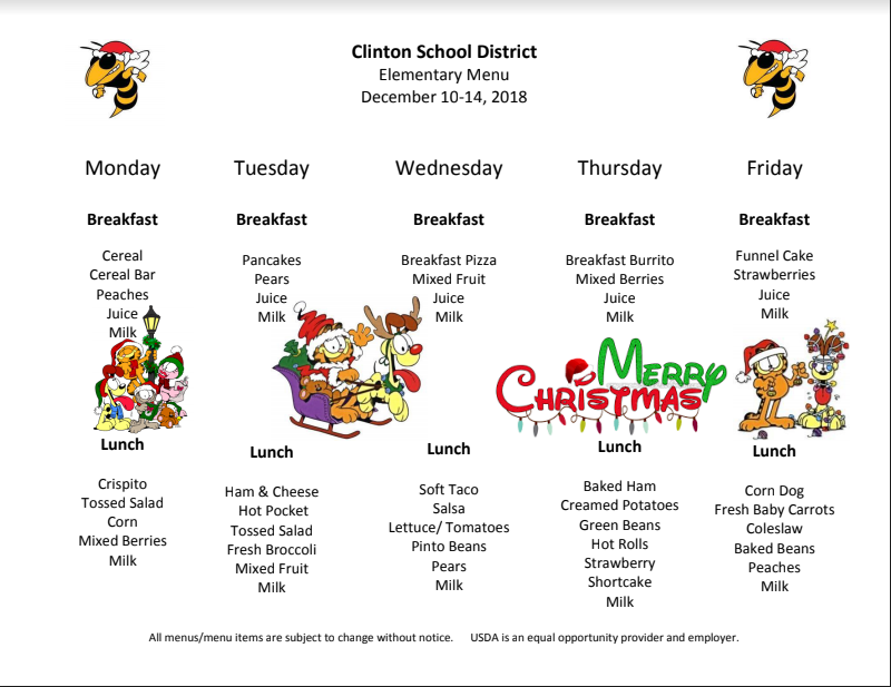 Preschool Lunch Menu Dec. 10-14