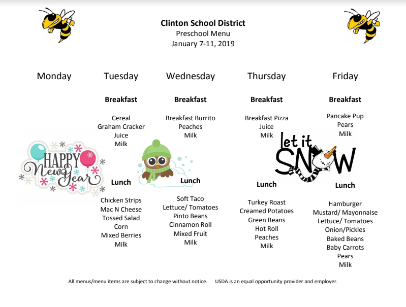 Preschool Lunch Menu Jan.7-11